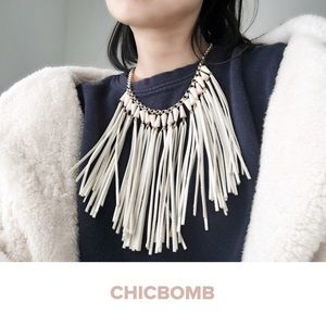 Statement suede leather strands necklace